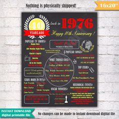 "1976 - 40th Anniversary Chalkboard Sign Poster - INSTANT DOWNLOAD - Our chalkboard Anniversary sign is filled with facts, events, and fun tidbits from 1976. Its a super fun keepsake and makes a truly special gift or party decoration. Simply print and use as is, or put in a frame.  Please note - this is a digital download only. Nothing will be shipped to you.  You will receive a digital 16x20 JPEG file shortly after your payment has gone through. 16x20"" digital printable file. 16x20 can be…"