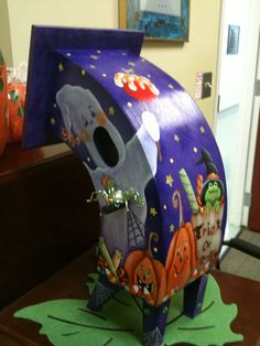 Halloween Bird House Hand Painted by Gail's Creations