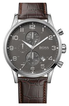 IWC Portuguese...BOSS HUGO BOSS Stainless Steel  Leather Chronograph Watch, 44mm available at #Nordstrom