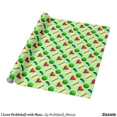 I Love Pickleball with Hearts and Pickles Wrapping Paper