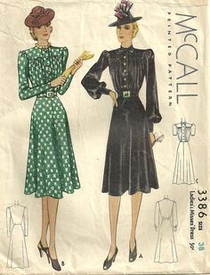 McCall 3386 Vintage 30s Sewing Pattern Dress by studioGpatterns