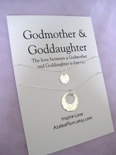 Godmother Necklace Gift Proposal Fairy Be My Solid Sterling Silver Goddaughter