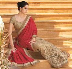 Golden & Maroon Color Half Net & Half Crush Festival & Function Wear Sarees : Swarani Collection  YF-42807