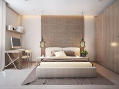 Idée relooking cuisine  The bedroom plays with texture and shape here also with a natural backdrop behi