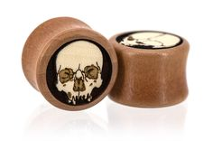 Ossuary Skull Skeleton Halloween Wood Plugs Gauges from Omerica Organic. Use Rep Code SWEETLE at checkout for 20% off your first purchase!