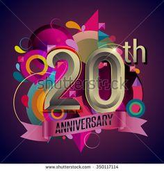 20th years anniversary wreath ribbon logo, geometric background - stock vector