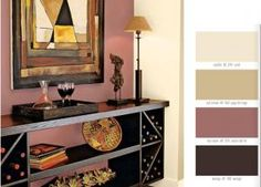 I'm thinking of this as the color scheme for the living room; I think I want mauve walls and a purple couch with a giant industrial clock on the wall Paint Color Palettes, Paint Color Schemes, Mauve Walls, Vintage Paint Colors, Accent Wall Colors, Accent Walls In Living Room, Room Colors, House Painting, Color Inspiration