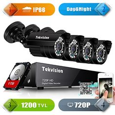 Tekvision H264 AHD 8 Channel 1200TVL 720P HD DVR Security Camera System 4 Bullet Outdoor Camera 1TB HDD preinstalled ** (This is Amazon Affiliate Link) You can get additional details at the image link.