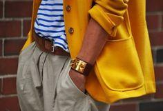 Yellow blazer + blue/white striped shirt + khaki + tan belt