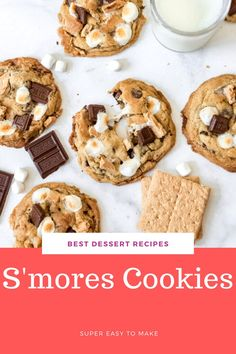 These gooey, soft, and chewy S'mores Cookies have all the elements of classic campfire s'mores in a cookie that is chock full of chocolate, graham crackers, and toasted marshmallows so you can enjoy this summertime favorite all year long and perfect at Christmas! #Christmas #sweet #cookie #smores #dessert #familyfriendly #easy #recipe Best Christmas Desserts, Thanksgiving Desserts, Christmas Christmas, Fall Dessert Recipes, Fall Desserts, Best Chocolate Desserts, Chocolate Chip Cookies, Smores Cookies, Smores Dessert