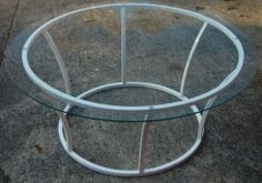Retro Midcentury Modern Minimalist Staples 1970s Round Glass Metal Coffee Table | eBay
