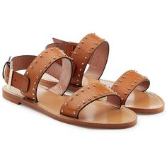 R.E.D. Valentino Studded Leather Sandals (285 PAB) ❤ liked on Polyvore featuring shoes, sandals, brown, summer shoes, brown shoes, genuine leather shoes, leather shoes and real leather shoes