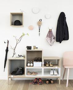 The Muuto Stacked Shelf System Ash Tree/White was designed by Julien De Smedt for acclaimed Scandinavian design house Muuto.This increasingly popular furniture Hallway Inspiration, Interior Inspiration, Design Inspiration, Deco Design, Design Case, Foyer Design, Hall Design, Design Blog, Ikea Valje