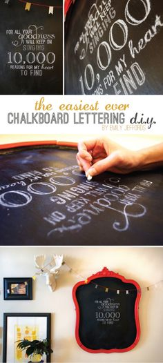 Chalkboard Hand Lettering DIY (don't have to have beautiful handwriting!) Just need chalk and a printer. Super easy and cute Chalkboard Hand Lettering, Diy Chalkboard, Chalkboard Writing, Chalkboard Designs, Chalk Writing, Sign Writing, Chalkboard Quotes, Diy Tableau Noir, Diy Projects To Try