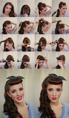 vintage, hair, bandana, tutorial, curls, hairdo