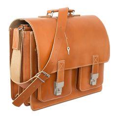 Hamosons große Aktentasche aus Leder, Modell 690 in Cognac-Braun. 179,00 €