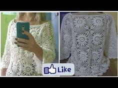 Blusa de crochê PARTE 3 - YouTube Crochet Blouse, Crochet Videos, Crochet Clothes, Diy And Crafts, Crochet Patterns, Make It Yourself, Clothes For Women, Floral, Dresses