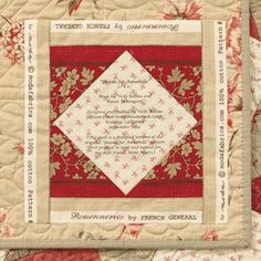 Framed Quilt Block Label - Notice how this block label from Bloom Creek Quilts is bordered with selvage fabric? It's Vicki Bellino's cool idea for documenting the fabric line used in the quilt.
