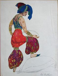 Costume design for the Ballet Russes, by Léon Bakst. Bakst's designs later influenced famous couturier, Paul Poiret Theatre Costumes, Ballet Costumes, Russian Ballet, Russian Art, Ida Rubinstein, Léon Bakst, Art Du Cirque, Empire Ottoman, Desenho Tattoo