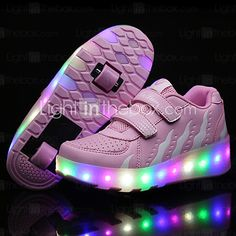 2017 Kids Boy Girl's Roller Skate Shoes / Ultra-light One Two Wheel Skating LED Light Fashion Shoes / Athletic / Casual LED WHeelys Shoes Black Pink - USD $34.99 ! HOT Product! A hot product at an incredible low price is now on sale! Come check it out along with other items like this. Get great discounts, earn Rewards and much more each time you shop with us!