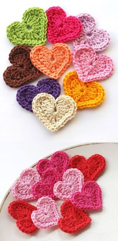 Crocheted hearts (tutorial)