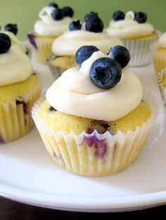 a hint of honey: Blueberry Lemon Cupcakes with Lemon Cream Cheese Frosting