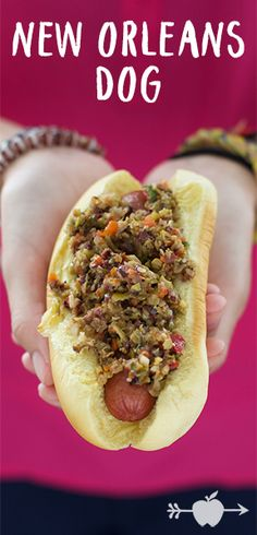 This New Orleans-inspired dog is topped with a finely chopped salad of olives, pickled vegetables, garlic, and capers, also known as Muffuletta olive salad. Hot Dog Recipes, Gourmet Recipes, Cooking Recipes, Kale Recipes, Avocado Recipes, Cooking Tips, Roast Beef Sandwiches, Wrap Sandwiches, Quesadillas