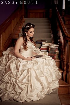 Library Book Theme Wedding Beauty and the Beast Wedding Fairy Tale - Belle Bride - Sassy Mouth Photography
