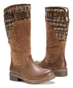 Look at this #zulilyfind! Muk Luks Chestnut Kelsey Boot - Women #zulilyfinds   1.5'' heel 12.5'' shaft 15'' circumference Inside zipper closure Water-resistant Man-made upper Faux lambswool lining TPR sole Cushioned footbed Imported