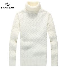 Men turtleneck sweater 65% wool contracted fashion and leisure warmer winter brands high-quality luxurious sweater black white