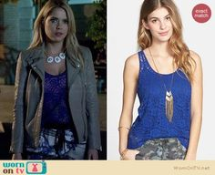 Hanna's blue and yellow printed pants, grey leather jacket and flower necklace on Pretty Little Liars.  Outfit Details: https://wornontv.net/33635/ #PLL