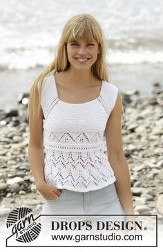 Knitted DROPS top with lace pattern worked top down in Muskat. Size: S - XXXL. Free knitting pattern by DROPS Design. Drops Design, Vest Pattern, Top Pattern, Free Pattern, Lace Patterns, Clothing Patterns, Crochet Patterns, Crochet Coat, Crochet Clothes