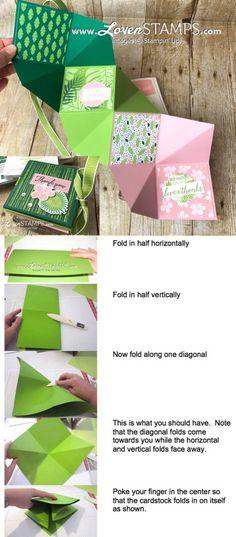 Squash Albums Made Simple: Tropical Chic Folding Card Tutorial - LovenStamps Mini Albums Scrap, Mini Scrapbook Albums, Fancy Fold Cards, Folded Cards, Squash Card, Tarjetas Pop Up, Mini Album Tutorial, Diy Papier, Card Tutorials