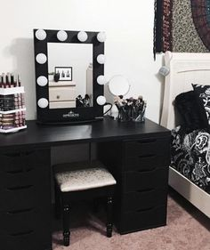 Diy vanity mirror with lights for bathroom and makeup station ikea do you have a lot of makeup get yourself a proper acrylic makeup organizer and sorting will never be a problem solutioingenieria Image collections