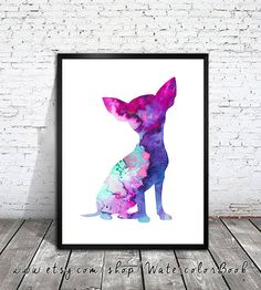Chihuahua 7 Watercolor Print, Archival Fine Art Print, Children's Wall Art, Home Decor, dog watercolor, watercolor painting, dog art,