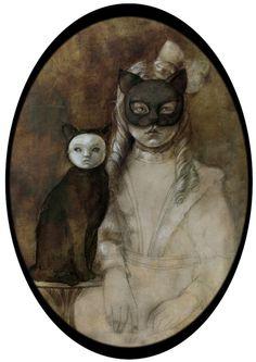 yukidoll:    Cat and Girl by ~Trixis...I like this kitty cats, beatriz martin, strange art, martin vidal, cat women, artist, face masks, portrait, halloween