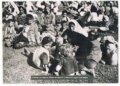 WWII. - 1943. - NDH - Jasenovac -  Familes huddled together at Jasenovac
