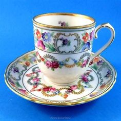Floral Garland Schumann Bavaria Germany Demitasse Tea Cup and Saucer Set