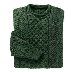 Merino Wool Aran Sweater Dark Green ❤ liked on Polyvore featuring tops, sweaters, shirts, jumpers, merino sweater, green shirt, fisherman knit sweater, merino shirt and stitch sweater