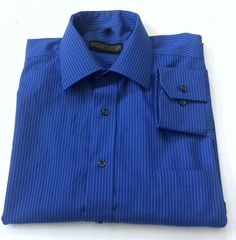 Donald J. Trump Signature Collection Blue Striped Shirt 16 34-35 Non Iron