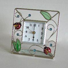 Ladybug Stained Glass Clock