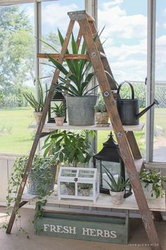 diy plant stand A ladder shelf is the ultimate. There are so many ways to use a ladder shelf! Take a peek at the most inspiring ladder shelf ideas. Antique Ladder, Vintage Ladder, Rustic Ladder, Antique Desk, Ladder Shelf Decor, Diy Ladder, Wood Ladder Shelf, Wooden Ladder Decor, Ladder Display