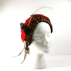 1940s Cocktail Hat, Vintage Black Felt and Red Feather Hat with Bead Fringe Trim By Katz Exclusive Millinary Hat Size 22  Wow! What a Hat! I feel