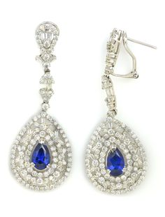 Exquisite Red Carpet Jewelry Item #368-13917 Estate 1.93 ctw Blue Sapphire Pear & 4.20 ctw Diamond Baguette & Round 18K White Gold Dangle Earrings Approx.Wt. - Gem Shopping Network
