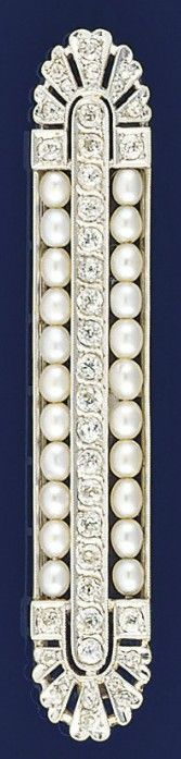 An early 20th century diamond and pearl brooch  Of rectangular form, the central old-cut diamond line between single lines of pearls, to old-cut diamond pierced fan terminals, circa 1910