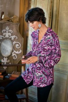 Persian Paisley Shirt - Long Sleeve Paisley Shirt, Paisley Blouse | Soft Surroundings Outlet