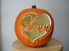 Love  Carved Decorative Fall Wedding Pumpkin by purpleinkgraphics