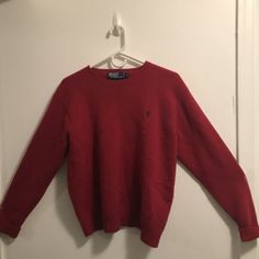 RALPH LAUREN POLO MENS SOLID RED 100% LAMBSWOOL DESIGNER SWEATER SIZE  LARGE 9d41e32399a