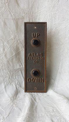 Antique Atlas Elevator Co Bronze Up Down Panel w Wiring #Atlas