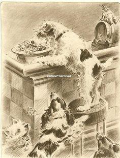 Morgan Dennis Dog Art Print Wire Fox Terrier Thief Steals Pretzels Vintage   eBay